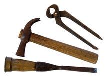 Старые инструменты изолированные на белизне Стоковые Фотографии RF