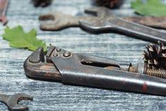 Старые инструменты на деревянном столе Стоковое Изображение RF