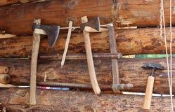 Старые инструменты плотника Стоковая Фотография RF