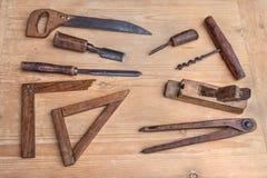 Старые инструменты woodworking Стоковые Изображения