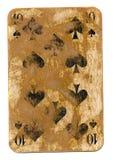 Старые используемые 10 из карточки лопат играя изолированной на белизне Стоковое Фото