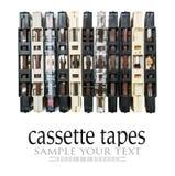 Старые и пакостные магнитофонные кассеты изолированные на белизне Стоковые Фото