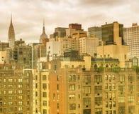 Старые и современные здания Нью-Йорка, центра города Манхаттана стоковое фото