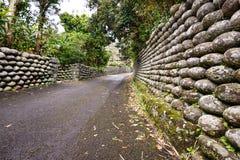Старые каменные стены Hachijojima Японии Стоковые Изображения RF