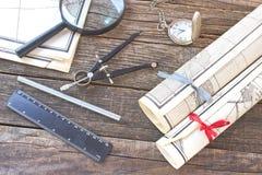 Старые карты с инструментами Стоковая Фотография