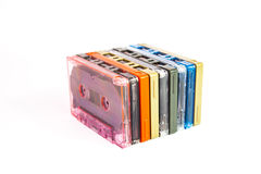 Старые кассеты на белой предпосылке Стоковое Фото