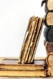 Старые книги на деревянной полке на белой предпосылке Исследование старых книг Поврежденные книги архив старый стоковые фото