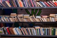 Старые книги на полке в антикварном магазине стоковые фото