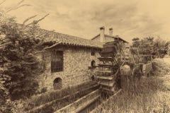 Старые колеса воды watermill винтажное изображение стиля Стоковая Фотография RF
