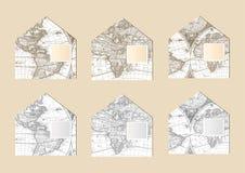 Старые конверты карты бесплатная иллюстрация