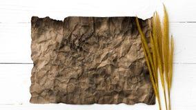 Старые коричневая бумага и пшеница Стоковая Фотография