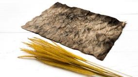 Старые коричневая бумага и пшеница Стоковое Фото