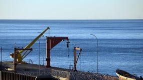 Старые краны в пристани Стоковое Изображение