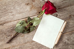 Старые красная роза и чистый лист бумаги Стоковые Изображения RF