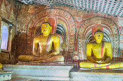 Старые красочные статуи пещер Dambulla Стоковые Фото