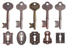 Старые ключи и keyholes Стоковое Изображение RF