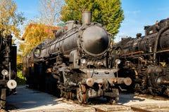 Старые локомотивы пара в музее поезда, Будапеште Стоковое фото RF