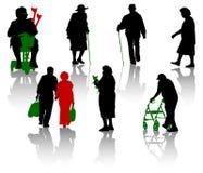 старые люди силуэта Стоковые Фотографии RF