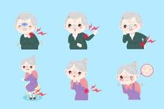 Старые люди с болью тела бесплатная иллюстрация