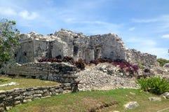 Старые майяские руины около океана в Tulum Мексике Стоковая Фотография