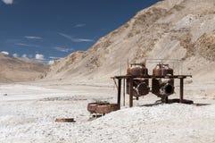 Старые машины для обрабатывать минеральную воду, Tsho Kar, ladakh, Индию Стоковое Изображение RF