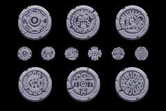 Старые мексиканские символы мифологии изолированные на каменной монетке Американский ацтек, тотем майяской культуры родной иконы  иллюстрация вектора
