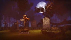 Старые могильные камни под большим полнолунием Стоковые Изображения RF