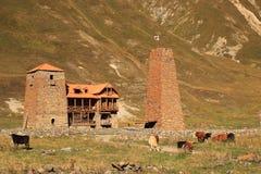 Старые монастырь и башня в ущелье Truso (Georgia) Стоковая Фотография RF