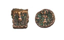 Старые монетки Индии Ujjaini стоковое изображение rf