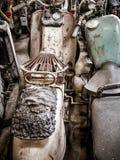 Старые мотоцилк, мопед и самокат, винтажная предпосылка стоковая фотография rf