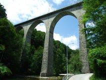 Старые огороженные мосты над няней реки стоковые изображения