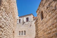 Старые дома в еврейском квартале, Иерусалиме стоковые фотографии rf
