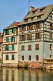 Старые дома в районе Ла маленькой Франции в страсбурге Стоковая Фотография