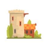 Старые дом и крепость камня возвышаются, старая иллюстрация вектора здания архитектуры бесплатная иллюстрация