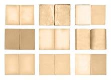 Старые открытые книги установили изолированный на белой предпосылке Стоковые Изображения