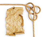 Старые пергамент и веревочка Стоковое Изображение