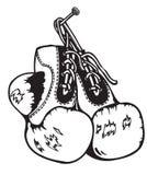 Старые перчатки бокса стоковое изображение rf