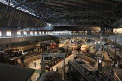 Старые поезда в железнодорожном музее Omiya Стоковое Изображение