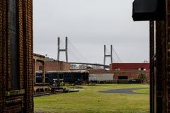 Старые поезда и новый мост Стоковые Фото