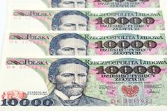 Старые польские деньги 10 тысяч злотый Стоковые Изображения