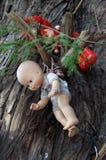 Старые пугающие куклы вися в дереве в Мехико Стоковые Изображения RF
