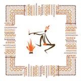 Старые племенные люди, этническая рамка орнамента для иллюстрация штока