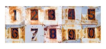 Старые ржавые знаки числа металла Стоковые Изображения