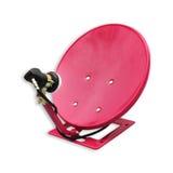 Старые ржавые старые красные спутниковые антенна-тарелки через пользу Стоковая Фотография