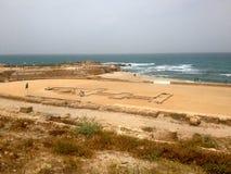 Старые римские руины в Caesaria, Израиле Стоковое Фото