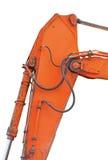 Старые родовые ковш и заграждение экскаватора плюс крупный план Ram ведра вертикальный, изолированные детали оранжевого желтого ц Стоковое Фото