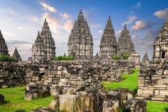 Старые руины виска Prambanan индусского Java, Индонесия стоковые фото