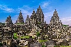 Старые руины виска Prambanan индусского Java, Индонесия стоковые изображения rf