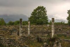 Старые руины в археологических раскопках Dion на Греции Стоковая Фотография RF