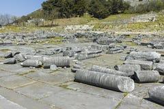 Старые руины на археологических раскопках Philippi, Греции стоковые фотографии rf